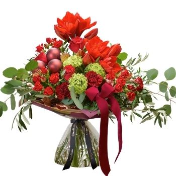 Christmas hand-tied bouquet made with the finest flowers
