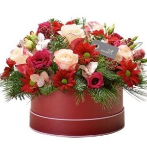 Interflora Christmas hatbox made with the finest flowers