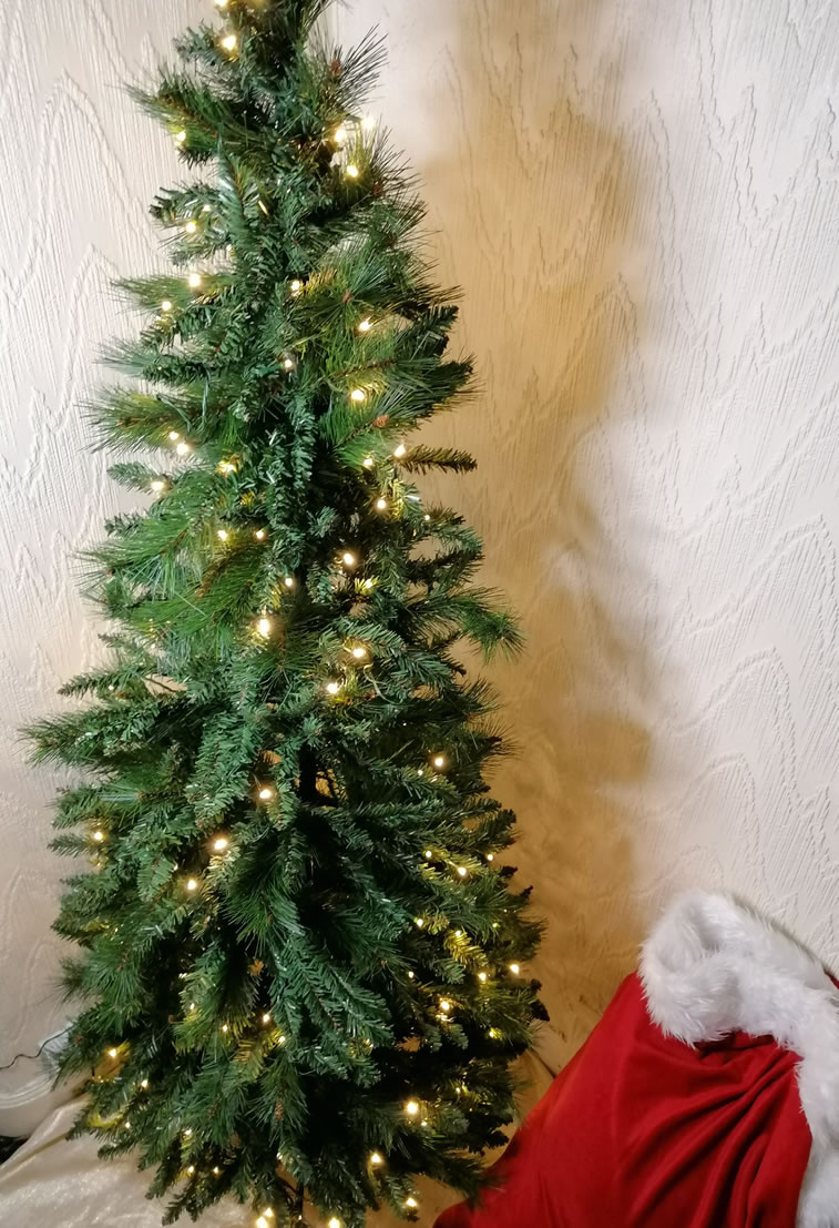 Image Of Homebase 6ft Green Pop Up Pre Lit Christmas Tree Assembled