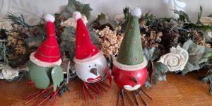Three Christmas Bird Ornaments