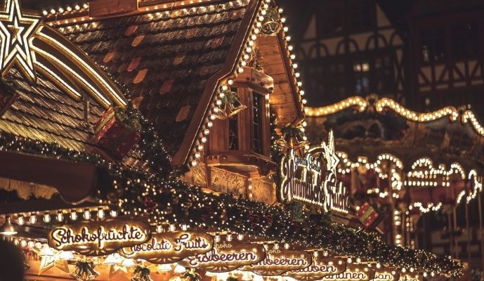 Christmas market with lights