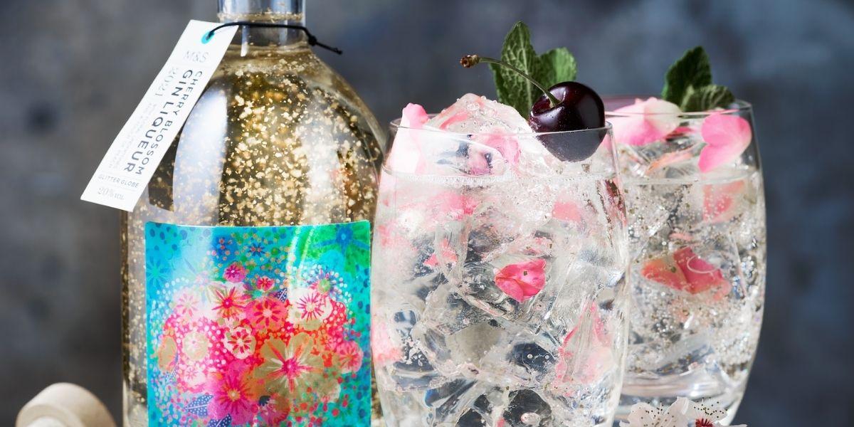 M&S Cherry Blossom Gin Glitter Globe