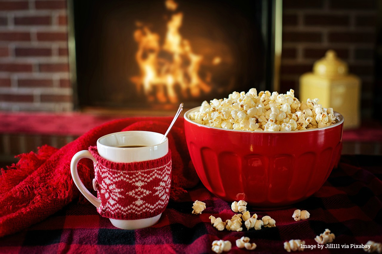 Warm and Cosy with popcorn and hot chocolate