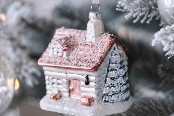 John Lewis Christmas 2021 – Snow Mountain Glitter House Bauble £7