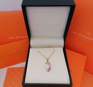 Image Of The Diamond Store Ruby & Diamond 9K Yellow Gold Necklace Box