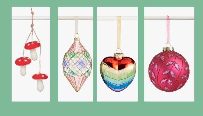 John Lewis Mushroom, Luxe City, Rainbow Heart and Gemstone Baubles 2021