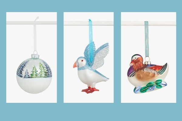 John Lewis Snowy Mountain Bauble, Puffin Bauble and Manderin Duck Bauble